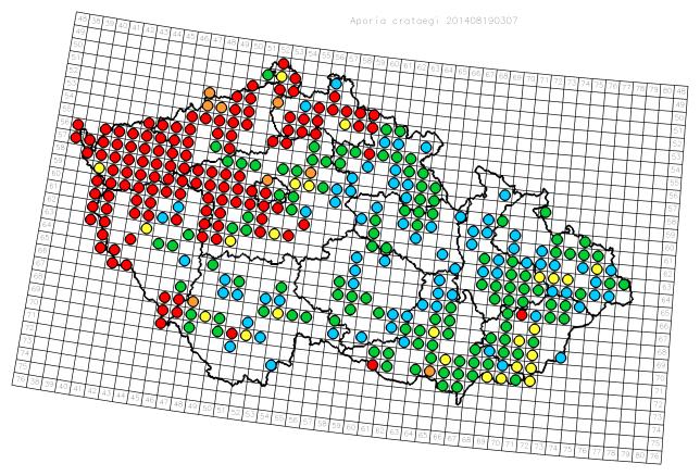 Mapka rozšíření běláska do roku 2014. Červené jsou nálezy po roce 2002. Čím chladnější barva, tím je nálezový údaj starší.